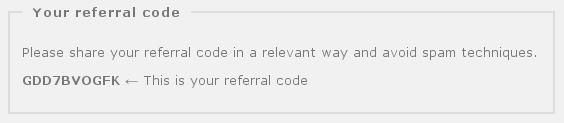 Get your referral code from your Piwigo.com account administration panel