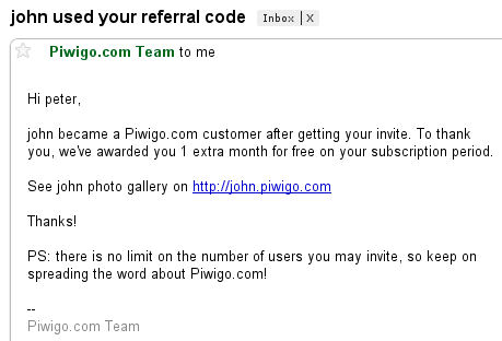 Piwigo.com notifies you by email when you get a new referred user