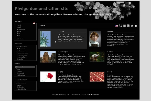 Theme Sakura BW for Piwigo (screenshot)
