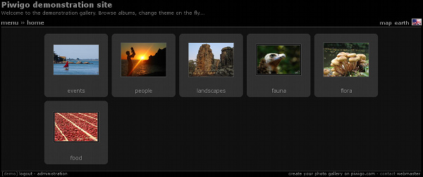 Piwigo with theme Stripped version 2, style Black: frame around thumbnails.