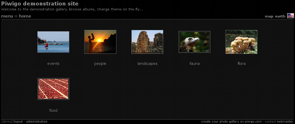 Piwigo with theme Stripped version 2, style Black: no frame around thumbnails.