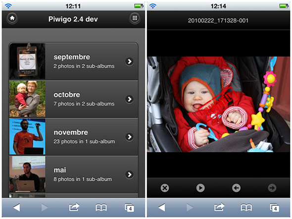 Piwigo 2.4: when visitors browse your gallery with a smartphone like iPhone or Android, Piwigo automatically loads the mobile theme.