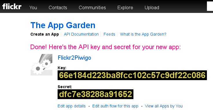Get your app keys on Flickr