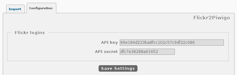 ... and copy Key/Secret on Piwigo