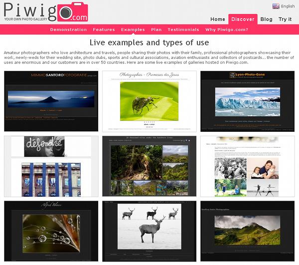 Piwigo.com live examples
