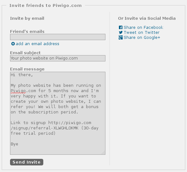 "Piwigo.com Referral Program, new ""Invite your friends"" feature : mail, feacebook, twitter, google+"