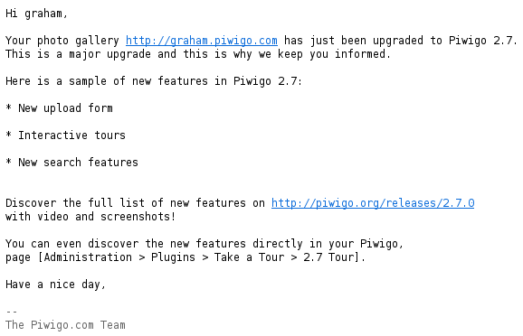 A notification email when your Piwigo is automatically updated to version 2.7