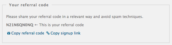 New convenient feature: you can easily copy your referral code or signup link