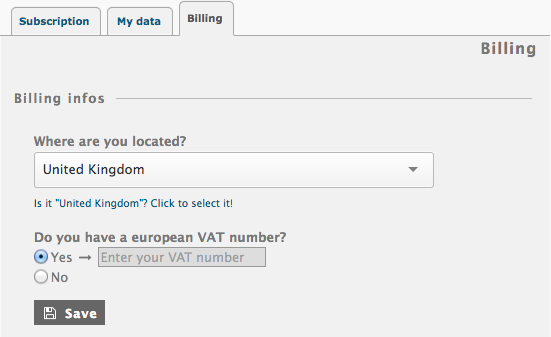 Piwigo.com subscription: give your country and your VAT number, if you have one.