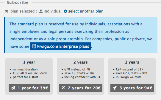 Piwigo.com subscription for Individual plan: select your duration