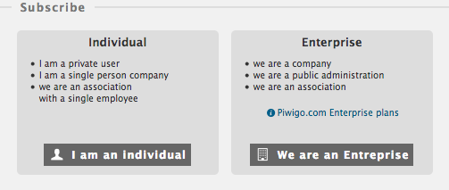 Piwigo.com subscription: are you an individual or an organisation?