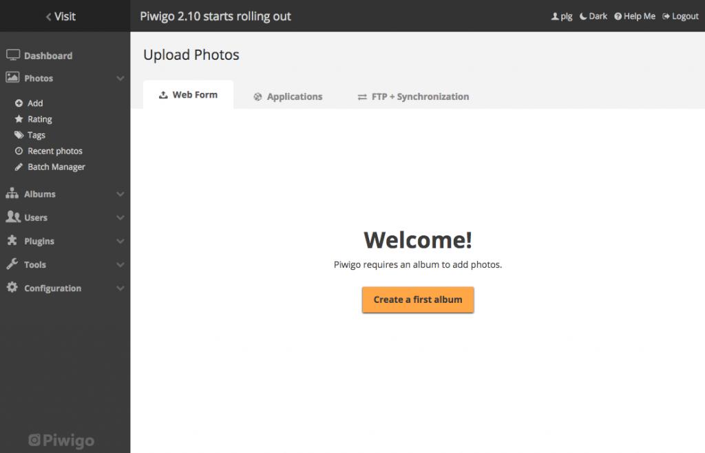 administration redesign piwigo 2.10